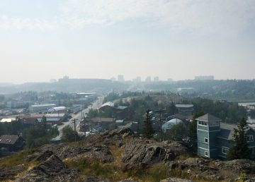 Haze generated by wildfire smoke from northern Alberta descends over Yellowknife on July 20, 2019