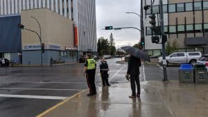Police told pedestrians to walk around this intersection, closing off its eastbound section