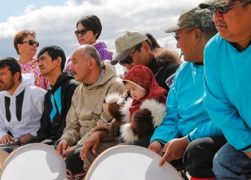 Members of the Inuvialuit Regional Corporation at a celebration in Inuvik