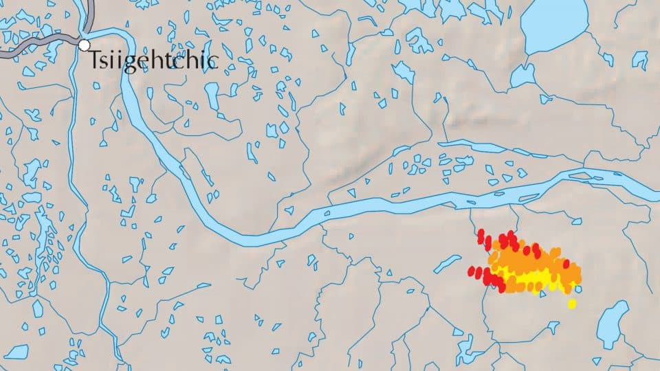 Satellite hotspot data shows, in red and orange, recent burn activity at a wildfire east of Tsiigehtchic as of 7am on July 27, 2019