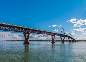 The NWT's Deh Cho Bridge basks in sunshine