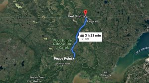 A map shows the existing road from Fort Smith to Peace Point