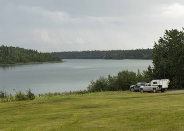 A file photo of Pine Lake in Wood Buffalo National Park in August 2019. Sarah Pruys/Cabin Radio