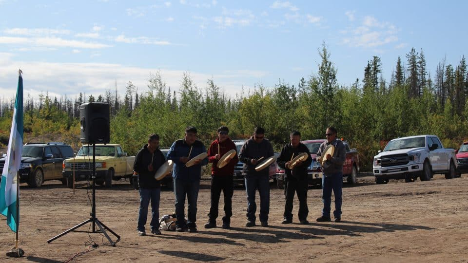 Whati drummers playing at ground breaking ceremony in Whati August 24 2019
