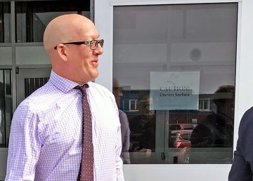 Nathan Watson, the former mayor of Norman Wells, emerges from Yellowknife's courthouse in August 2019