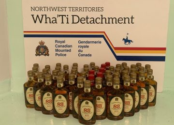An RCMP handout photo of one of the batches of alcohol seized before entering Whatì.