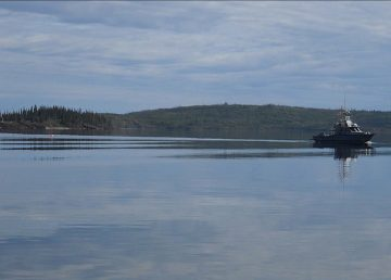 An RCMP handout photo shows the FPV Reliance on patrol on Great Slave Lake.
