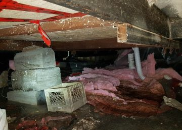 A photo underneath 556 Catalina Drive shows insulation laying on the ground. Submitted by Nancy Sweetman