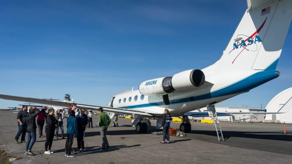 Students outside the Nasa jet