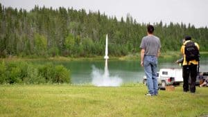 A rocket launches at the 2019 Dark Sky Festival