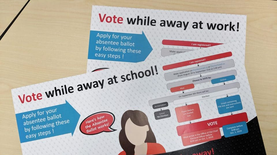 Elections NWT posters encourage absentee voters to cast a ballot in 2019.