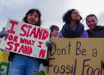 Protesters at Yellowknife's global climate strike event on September 27, 2019