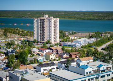 Yellowknife's Watermark Tower is pictured in July 2019