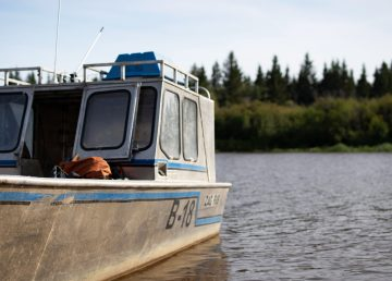 A fishing boat in Hay River in August 2019