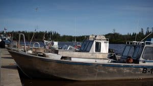 A fishing vessel in Hay River in late August 2019. Sarah Pruys/Cabin Radio