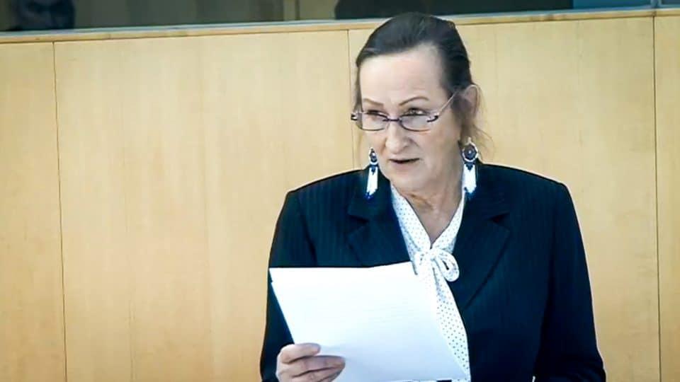 Caroline Cochrane addresses the legislature in October 2019