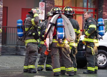 Firefighters investigate after two calls reported seeing smoke from a floor above Yellowknife's Centre Square Mall