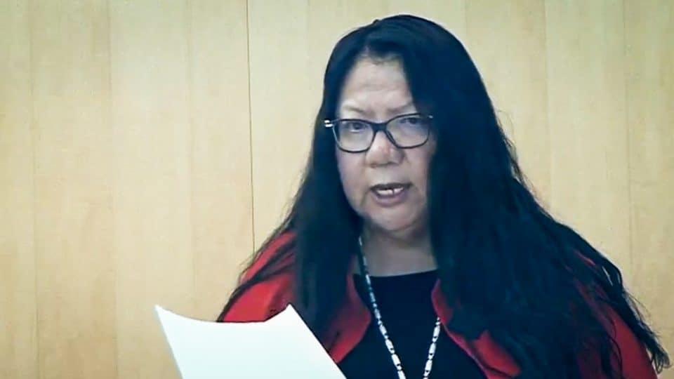 Frieda Martselos addresses the legislature in October 2019