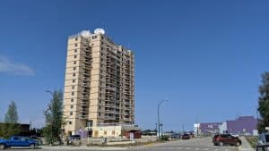 Hay River's highrise in August 2019