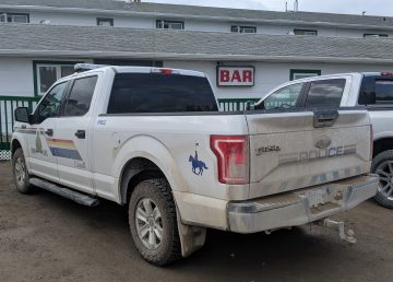 A file photo shows an RCMP vehicle at Fort Providence's Big River gas station