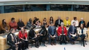 Nine female MLAs are sworn in, together with 10 male MLAs, to form the 19th Legislative Assembly in October 2019