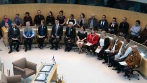 MLAs are sworn in at the NWT's legislature in October 2019