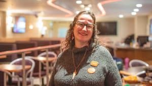 Mary Beckett on federal election night 2019. Sarah Pruys/Cabin Radio