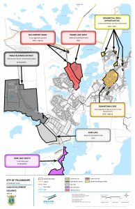 A map identifies areas pegged for residential, commercial, and industrial development in Yellowknife.