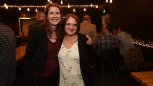 Great Slave MLA-elect Katrina Nokleby, left, poses with unsuccessful Kam Lake candidate Cherish Winsor