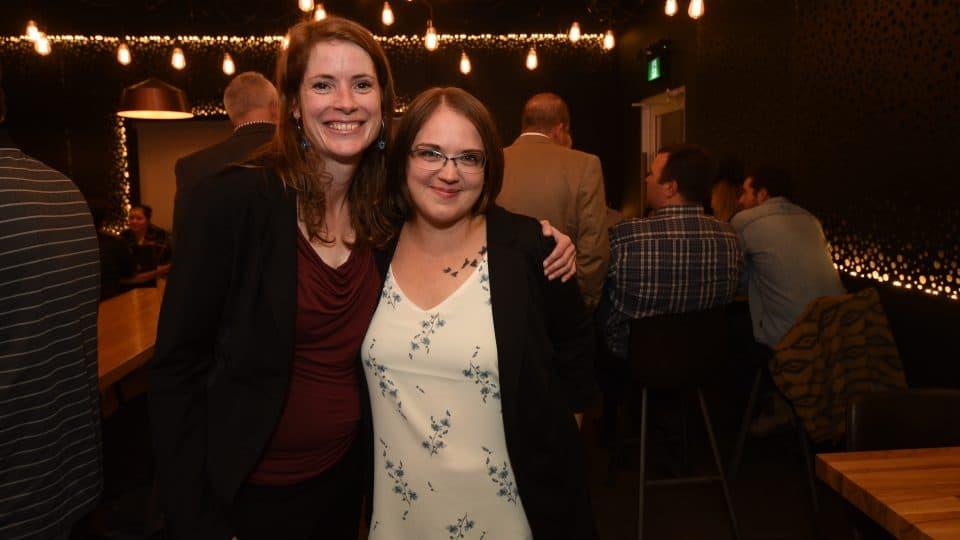 Great Slave MLA-elect Katrina Nokleby, left, poses with unsuccessful Kam Lake candidate Cherish Winsor