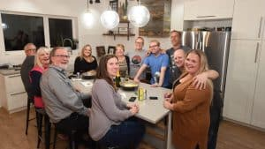 Caitlin Cleveland and friends pose in the Cleveland family kitchen on October 1, 2019, as Cleveland is voted into office in Kam Lake