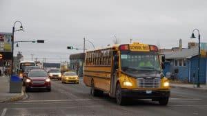 A school bus on Yellowknife's Franklin Avenue in 2019