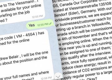 Screenshots of messages sent to a Yellowknife resident by scammers posing as the Viessmann company