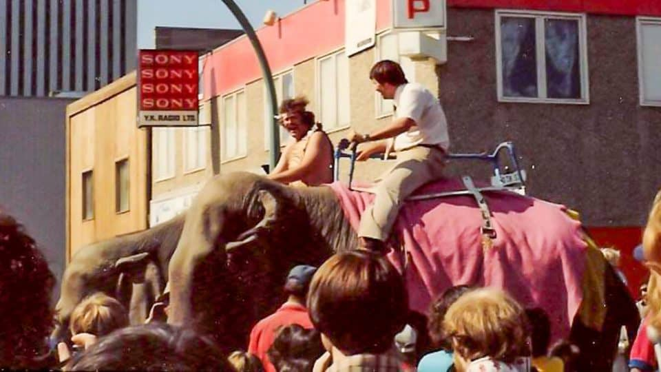 An elephant race in downtown Yellowknife