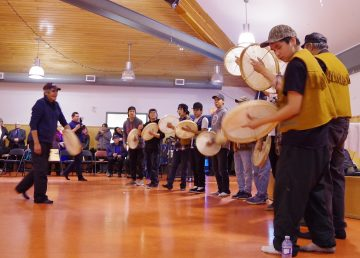 Drummers in Fort Good Hope lead a ceremony marking the creation of the Sahtu's newest protected area