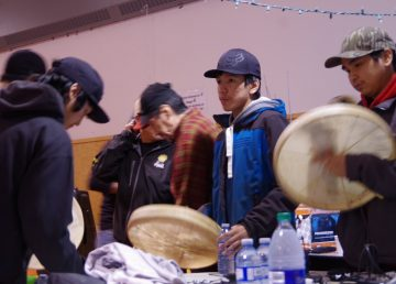 The Fort Good Hope drummers prepare to begin celebrations for the Ts'udé Nilįné Tuyeta protected area