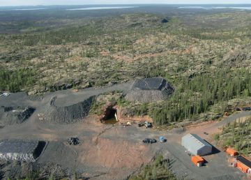 An aerial view of the Nico mine site
