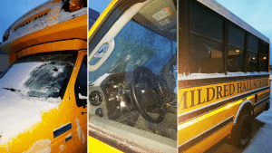 Photos of Mildred Hall School's vandalized bus