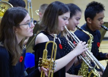 Students play at Sir John Franklin High School's special assembly on National Aboriginal Veterans Day November 8