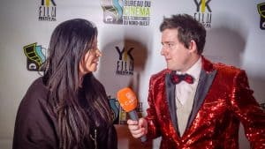 Cabin Radio's Ollie Williams interviews Red Snow director Marie Clements on the red carpet in Dettah