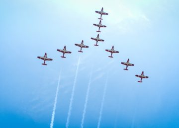 Royal Canadian Air Force Snowbirds over Yellowknife during the 2014 airshow