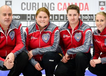 NWT curlers Jamie Koe, Kerry Galusha, David Aho and Megan Koehler