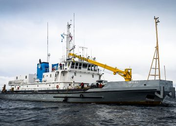 The former Nahidik research vessel in a photo tweeted by the Arctic Research Foundation