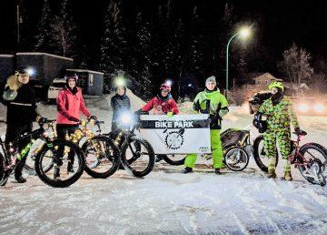 Yellowknife Mountain Bike Club members ahead of the Santa Claus parade