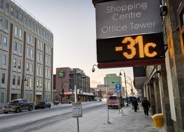An electronic sign in downtown Yellowknife is pictured lying brazenly about the temperature on December 9, 2019