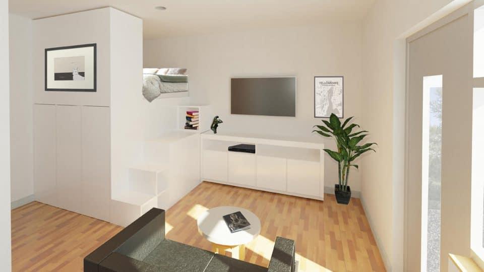 A rendering of a Gem condominium's interior