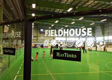 Rio Tinto branding at Yellowknife's Fieldhouse