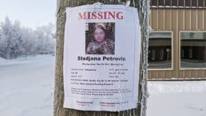 A missing persons post for Sladjana Petrovic in downtown Yellowknife on January 12, 2020. Sarah Pruys/Cabin Radio