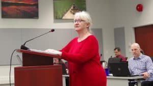 Bed and breakfast owner Faith Embleton presents at a public hearing on changes to the city's zoning bylaw January 13. Emelie Peacock/Cabin Radio