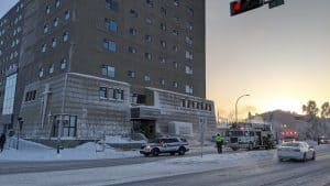 Emergency vehicles outside Yellowknife's Northern United Place on January 14, 2020